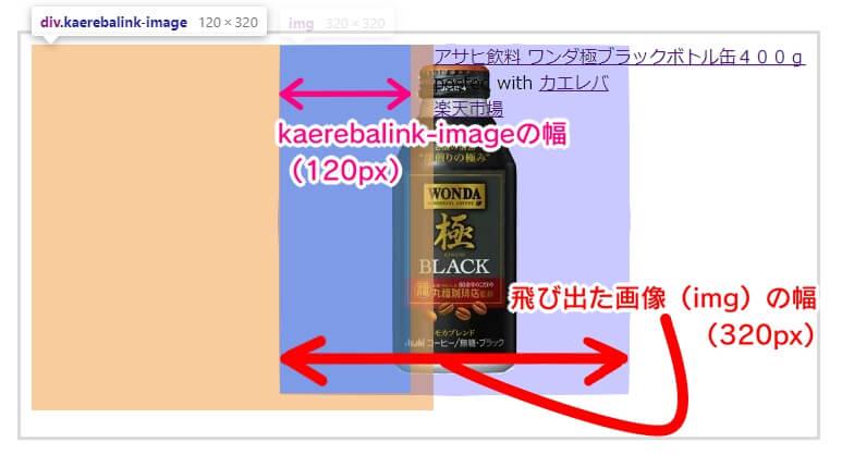 ➂-4画面幅800pxの時kaerebalink-imageは幅が120px、高さが320px(imgに合わせて高さが大きくなってしまっている)重ねた