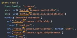 2-20 フォルダー名を「fonts」→「fonts2」に変更したので、urlポイッ所に「2」を加えます。