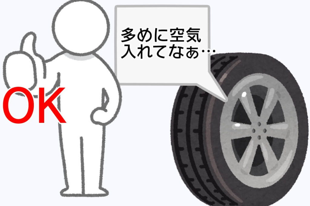 1-14 タイヤ圧を高めに入れることをお願いするタイヤ改