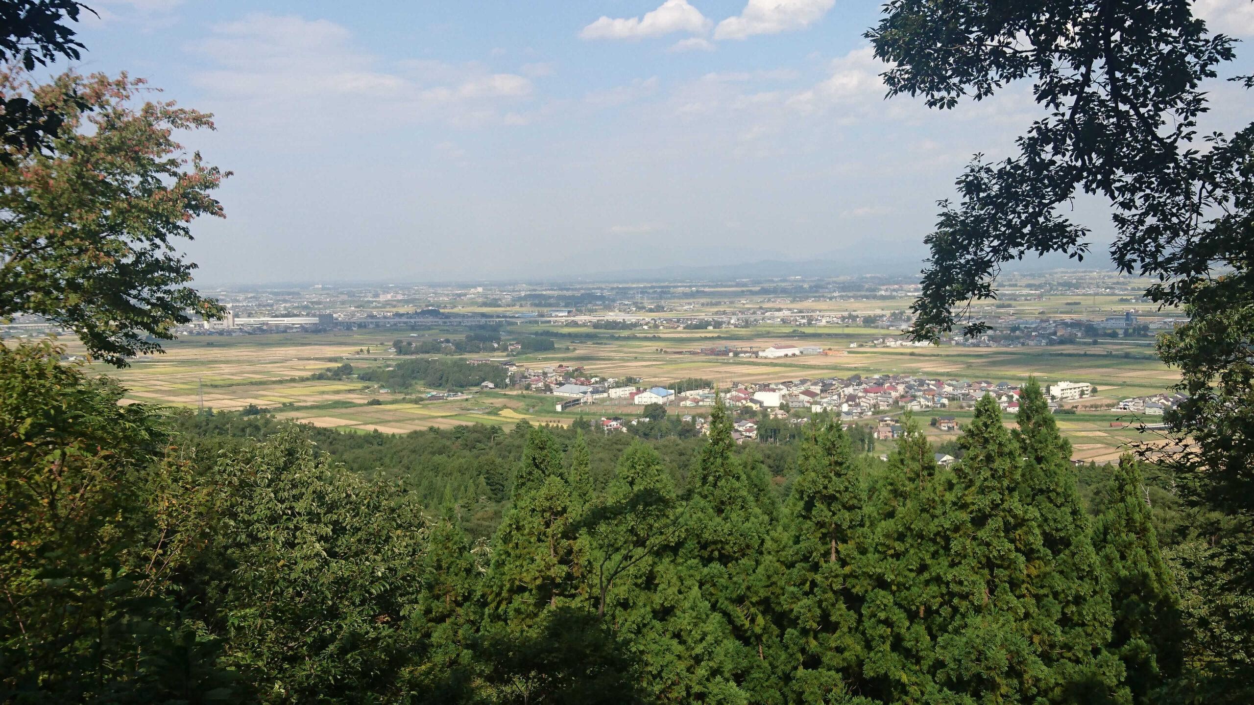本丸からの眺め、田んぼが広がる上越市